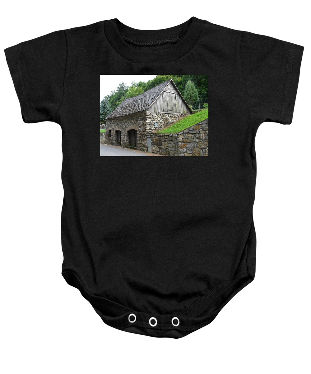 Old Baby Onesie featuring the photograph Old Austrian Barn by Valerie Ornstein