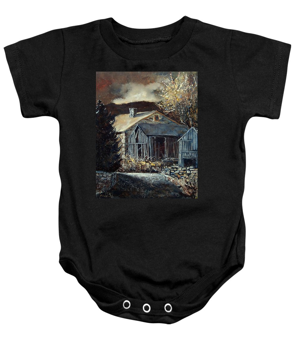 Village Baby Onesie featuring the painting Old Barns by Pol Ledent