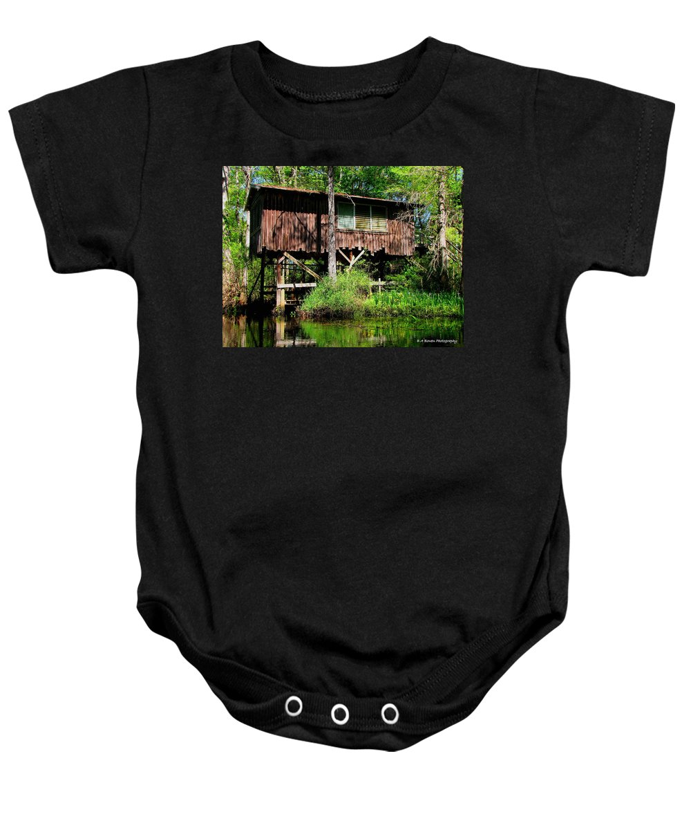 Old Boat House Baby Onesie featuring the photograph Old Boat House by Barbara Bowen