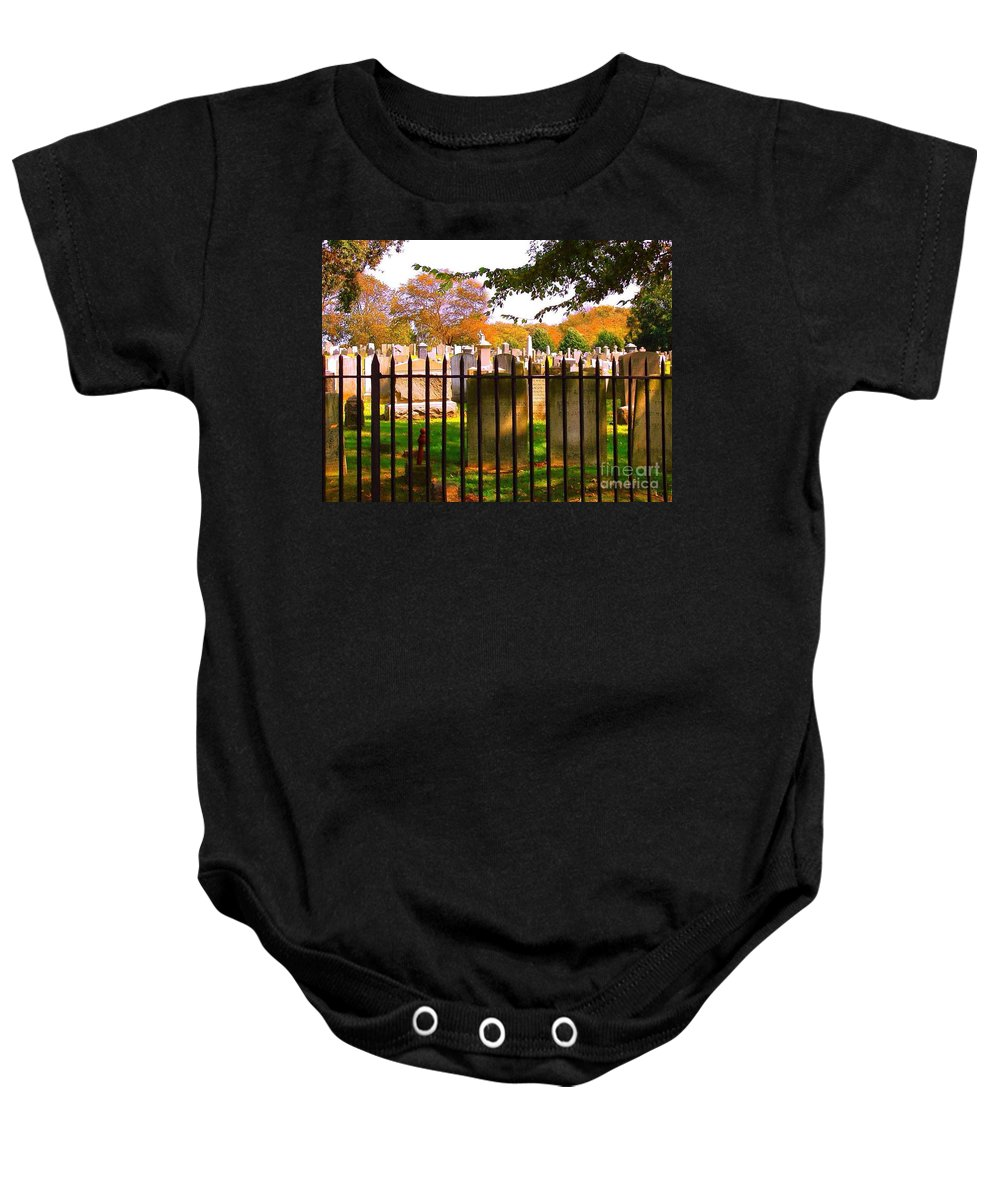 Old Cemetary In Newport Rhode Island Baby Onesie featuring the photograph Old Cemetary In Newport Rhode Island by Becky Lupe