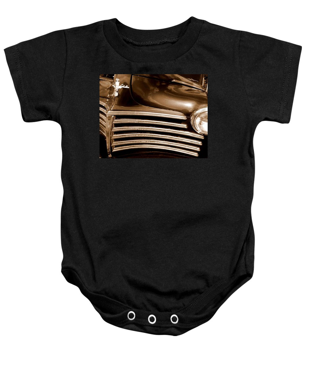 Truck Baby Onesie featuring the painting Old Chrysler Grille by Michael Thomas
