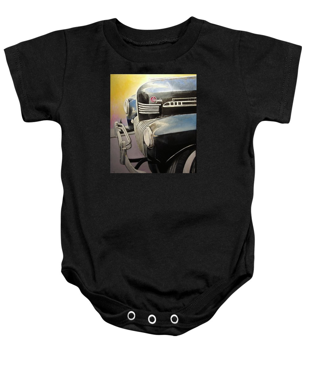 Old Baby Onesie featuring the painting Old Chrysler by Tomas Castano