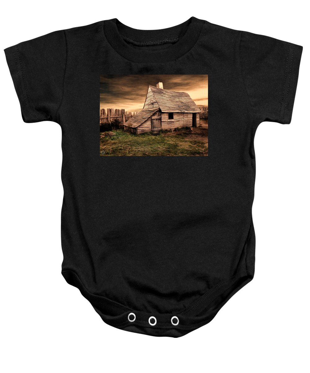 Barn Baby Onesie featuring the photograph Old English Barn by Lourry Legarde