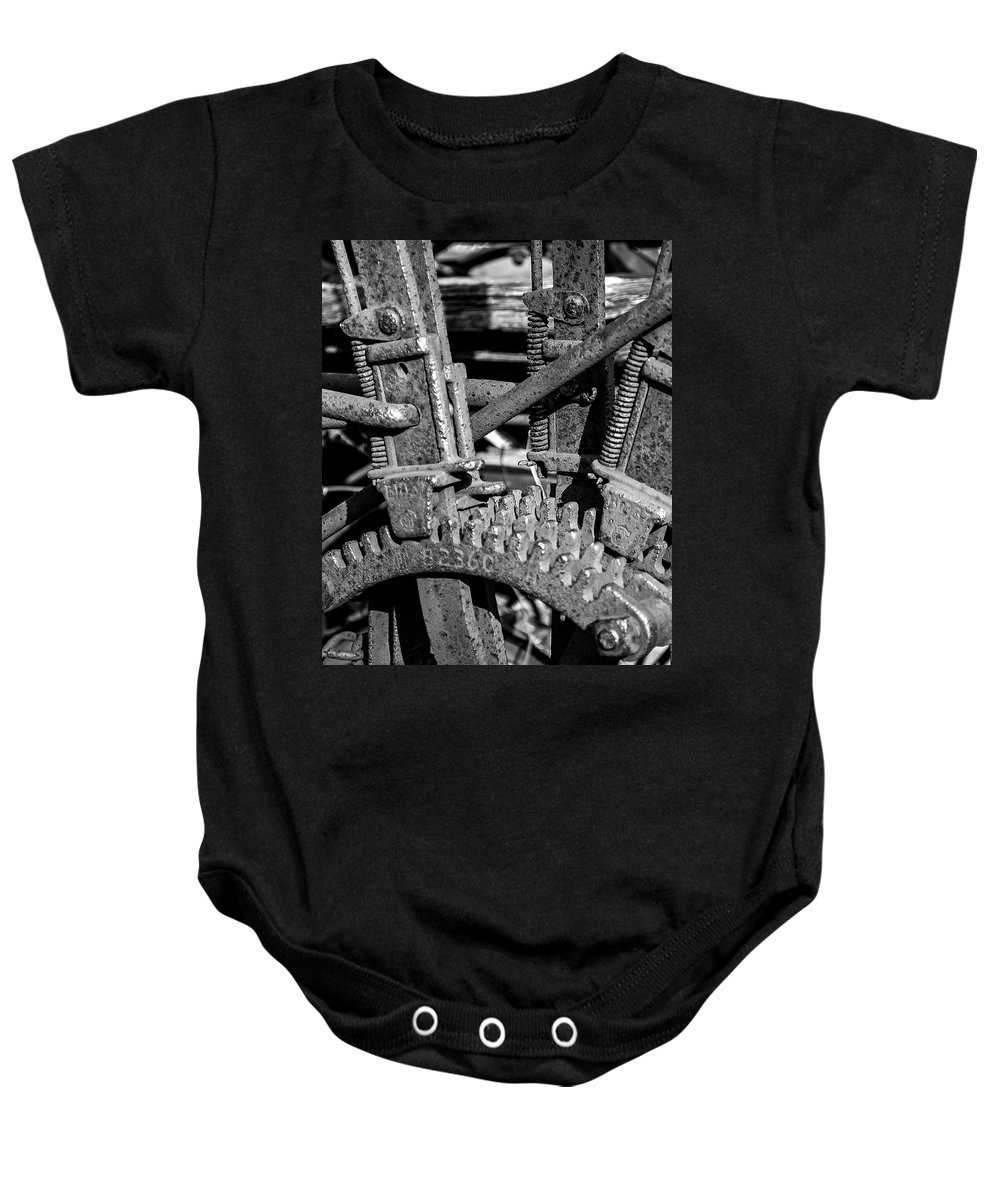 Landscape Baby Onesie featuring the photograph Old Farm Machinery #2 by Allen Sheffield