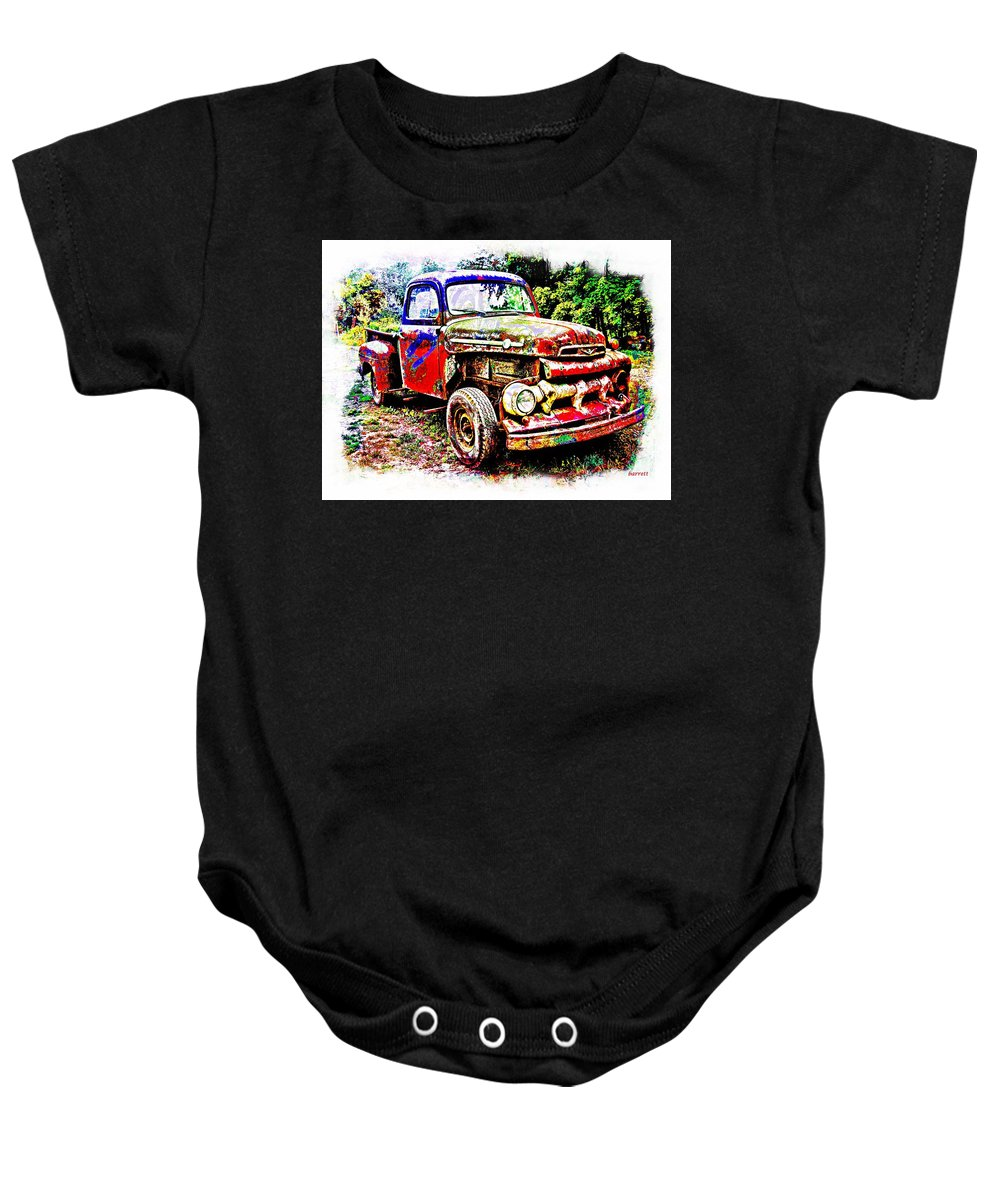 Truck Baby Onesie featuring the painting Old Farm Truck by Don Barrett