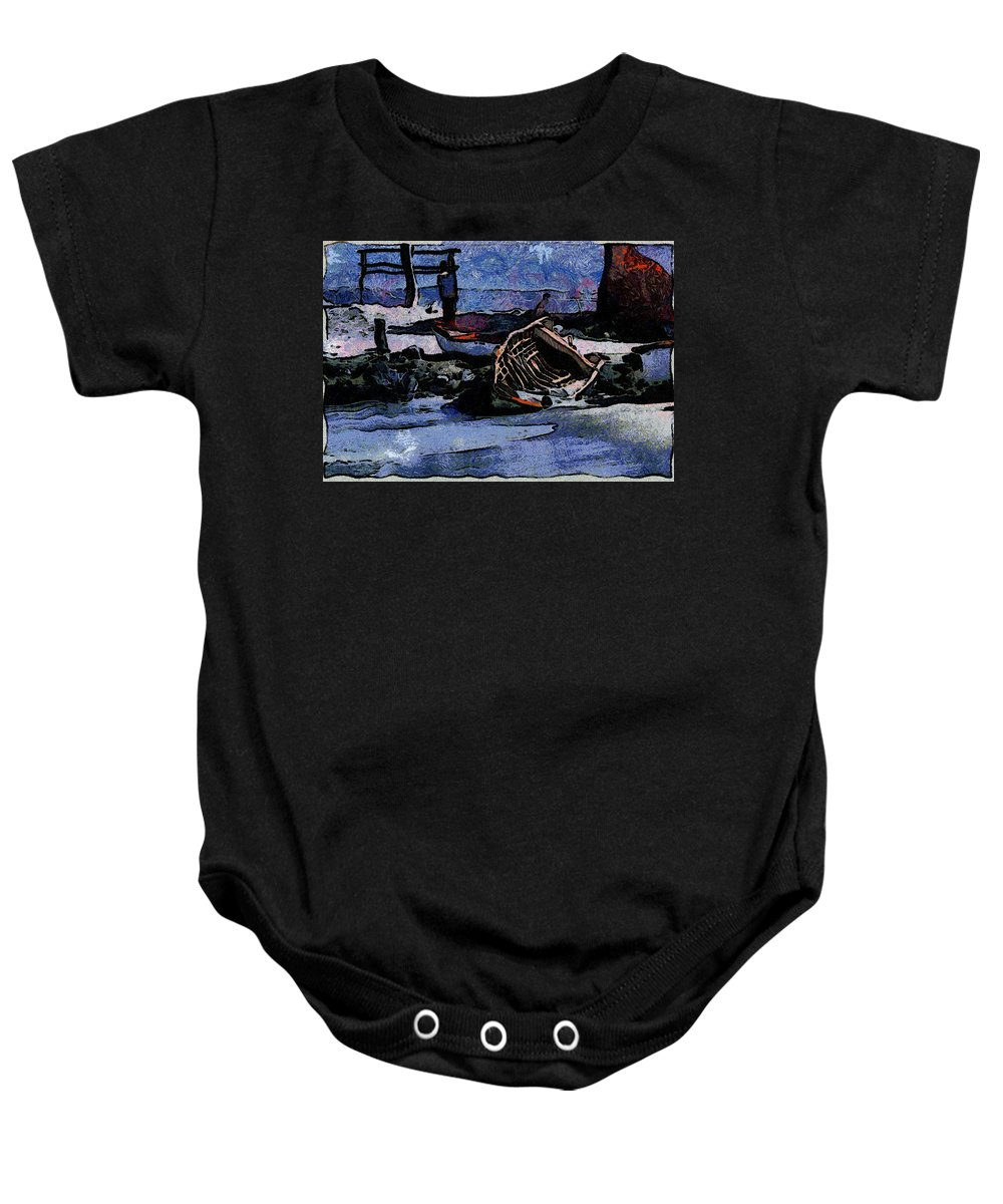Fishboat Baby Onesie featuring the photograph Old Fishboat by Galeria Trompiz