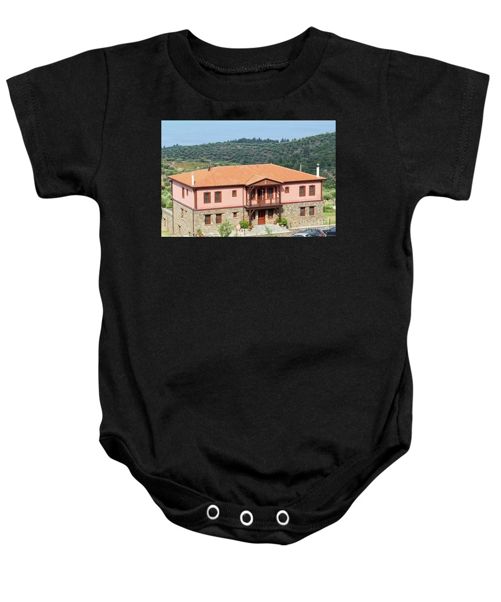 Tree Baby Onesie featuring the photograph old house Sithonia Greece summer vacation scene by Goce Risteski