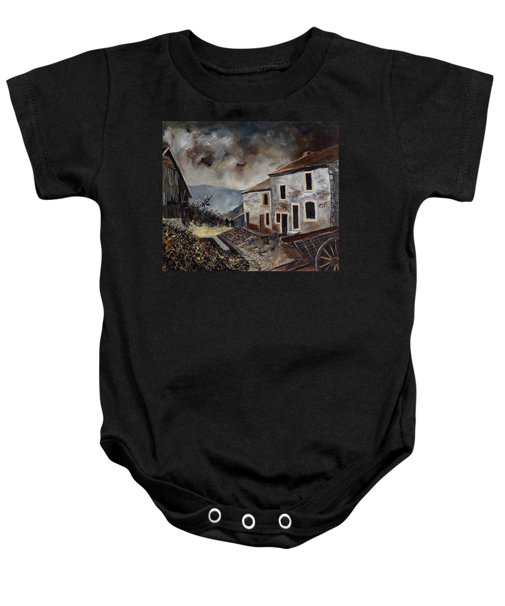 Tree Baby Onesie featuring the painting Old Houses by Pol Ledent