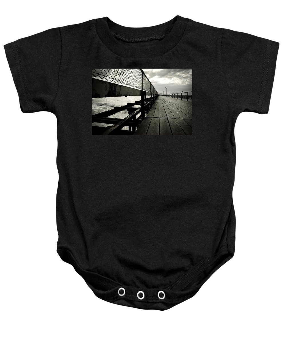 Old Baby Onesie featuring the photograph Old Jetty by Kelly Jade King