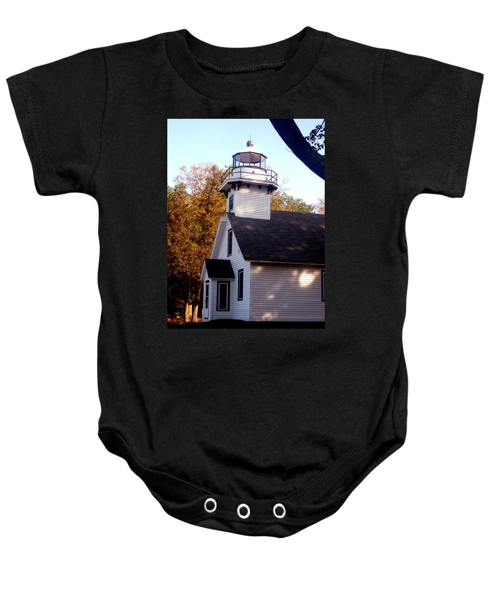 Lighthouse Baby Onesie featuring the painting Old Mission Point Light House by Wayne Potrafka