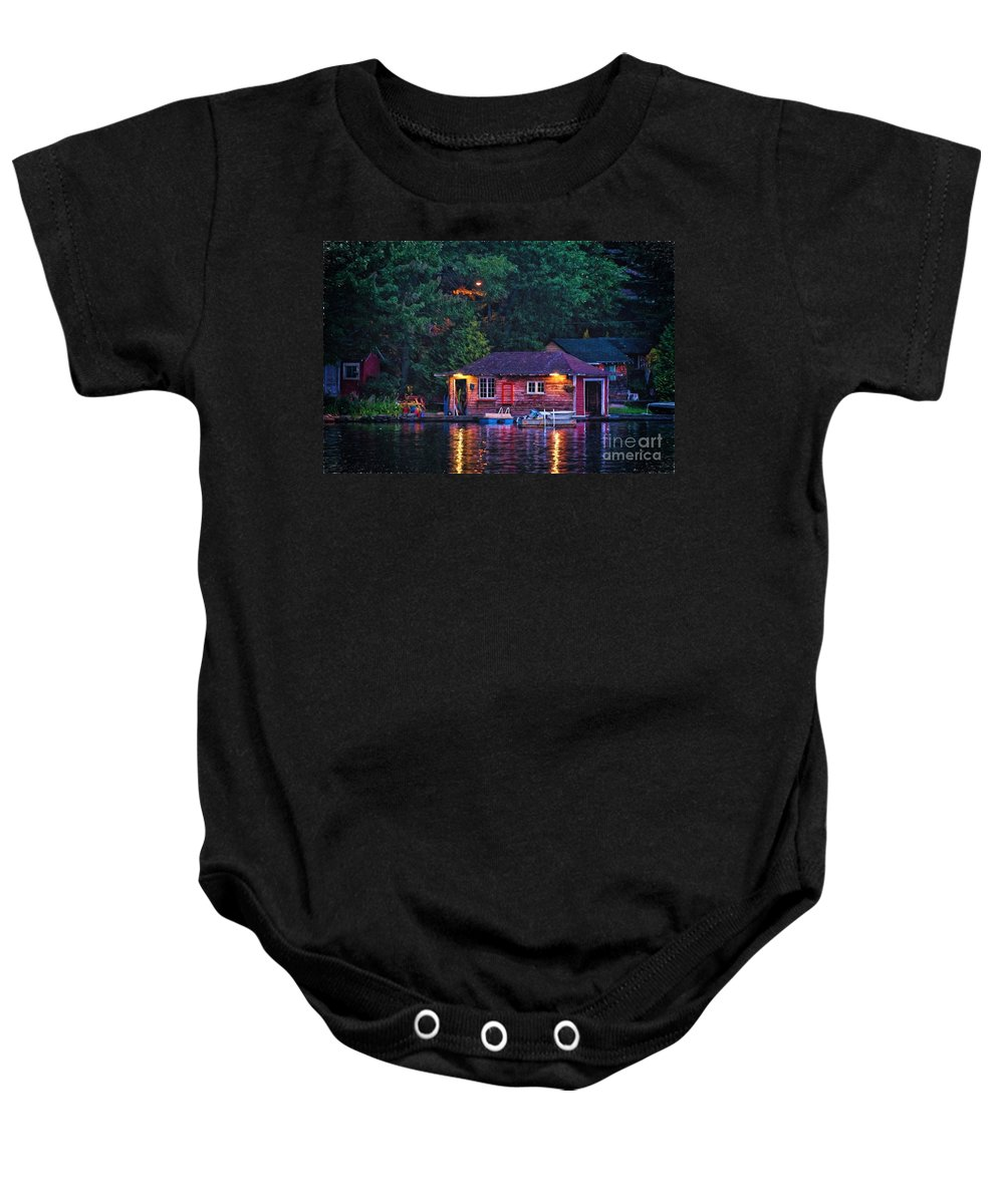 Boat Baby Onesie featuring the photograph Old Muskoka Boathouse At Night by Les Palenik