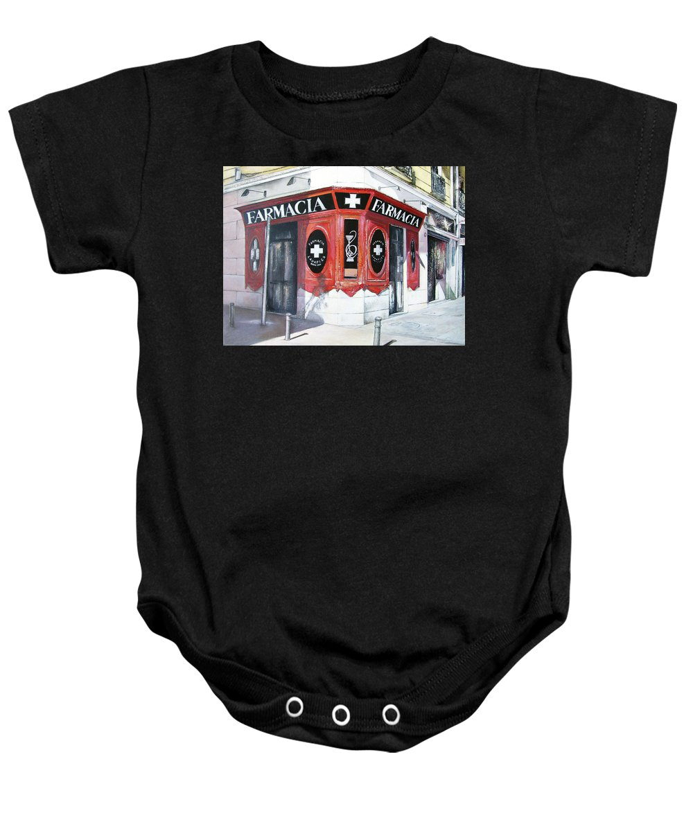 Pharmacy Baby Onesie featuring the painting Old Pharmacy by Tomas Castano