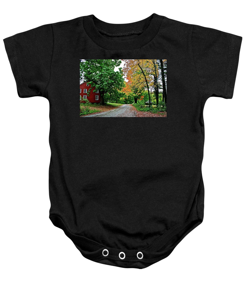 Country Baby Onesie featuring the photograph Old Red House by Diana Hatcher