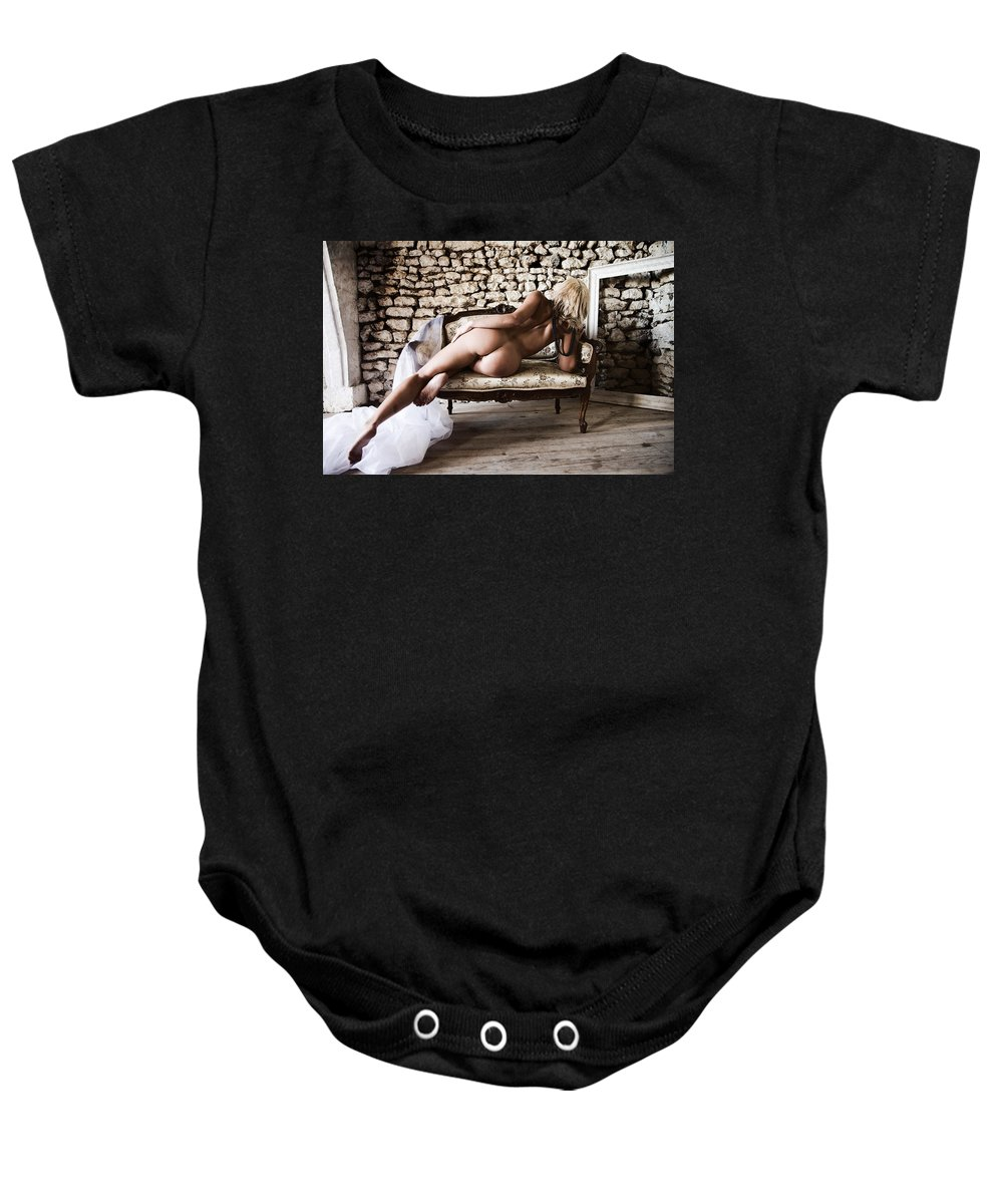 Sensual Baby Onesie featuring the photograph Old Room by Olivier De Rycke