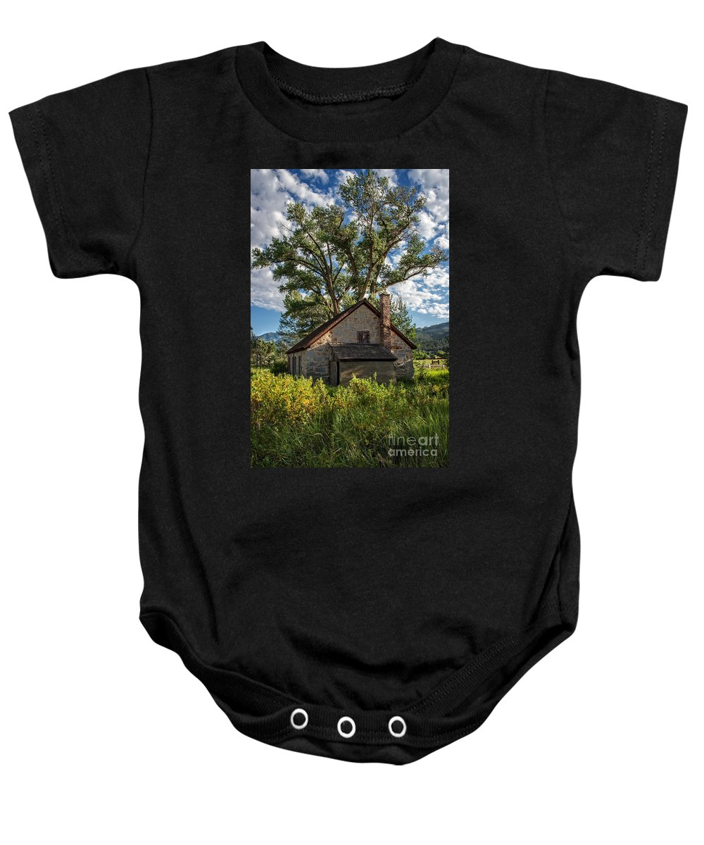 Structure Baby Onesie featuring the photograph Old Stone Ranch Structure by Dianne Phelps