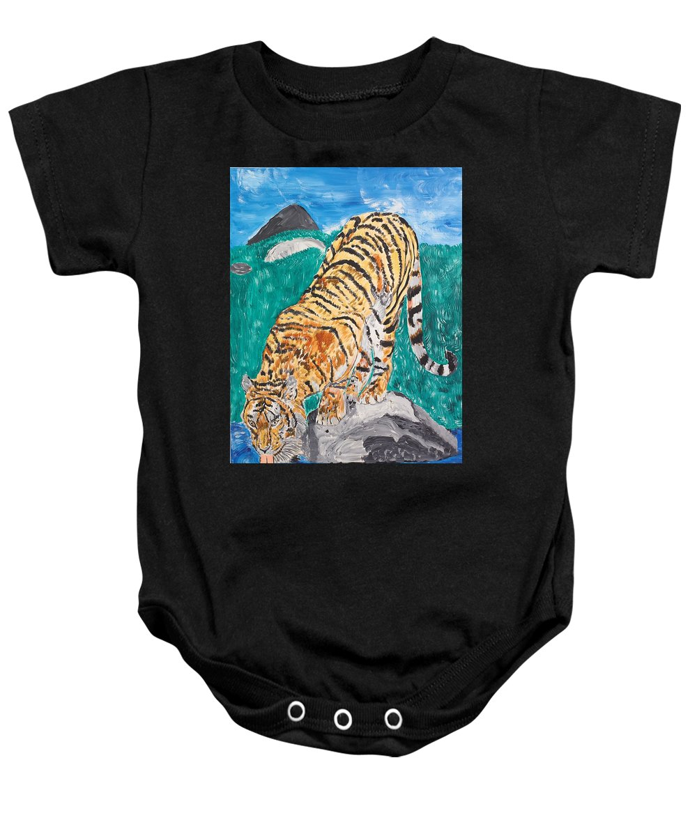 Cat Baby Onesie featuring the painting Old Tiger Drinking by Valerie Ornstein