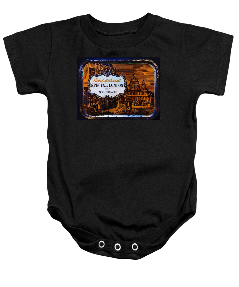 Tobacco Tin Baby Onesie featuring the photograph Old Tobacco Tin by Mark Blauhoefer