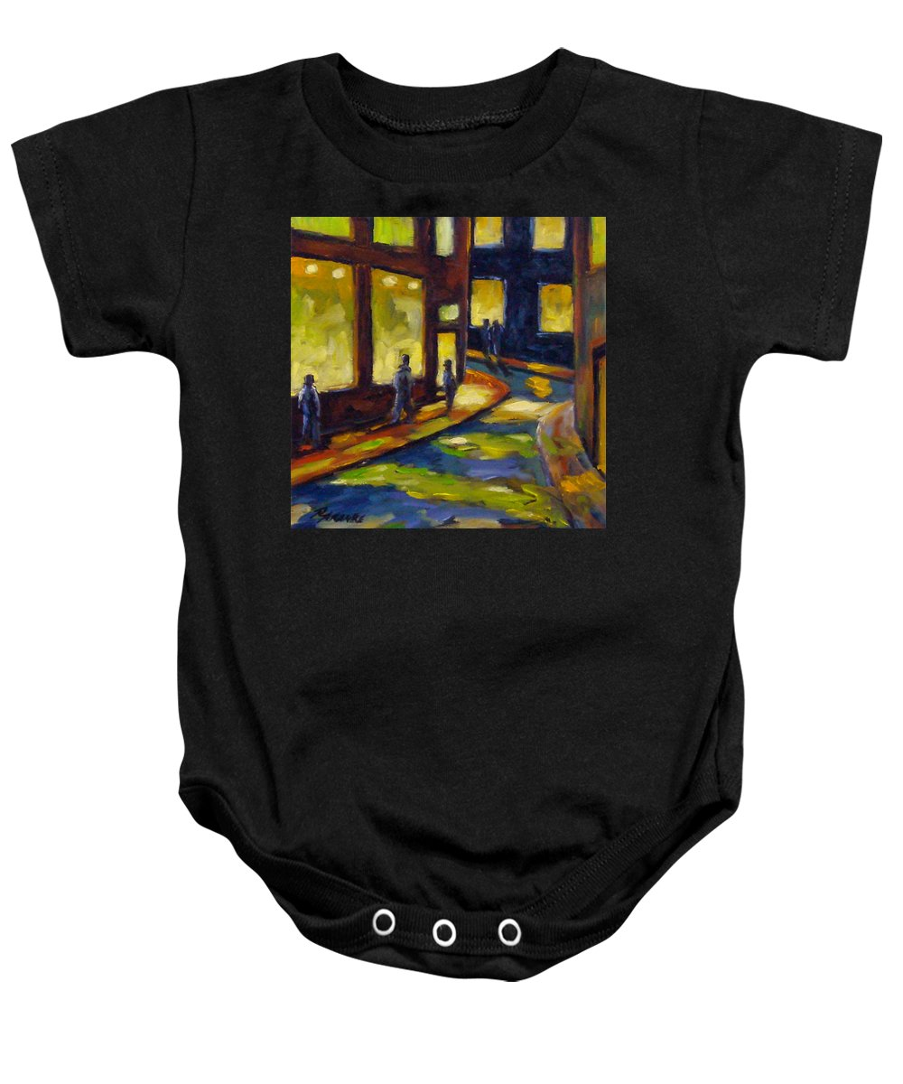 Urban; Scene; People; Night; Street; City; Scape; Love; Baby Onesie featuring the painting Old Town At Night by Richard T Pranke