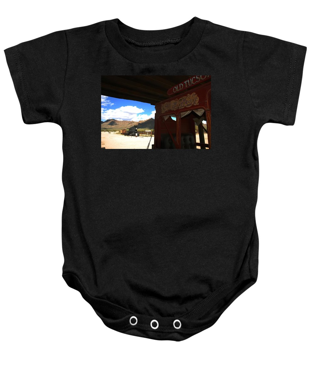 Old Tuscon Baby Onesie featuring the photograph Old Tuscon Stage Coach And The Reno by Susanne Van Hulst