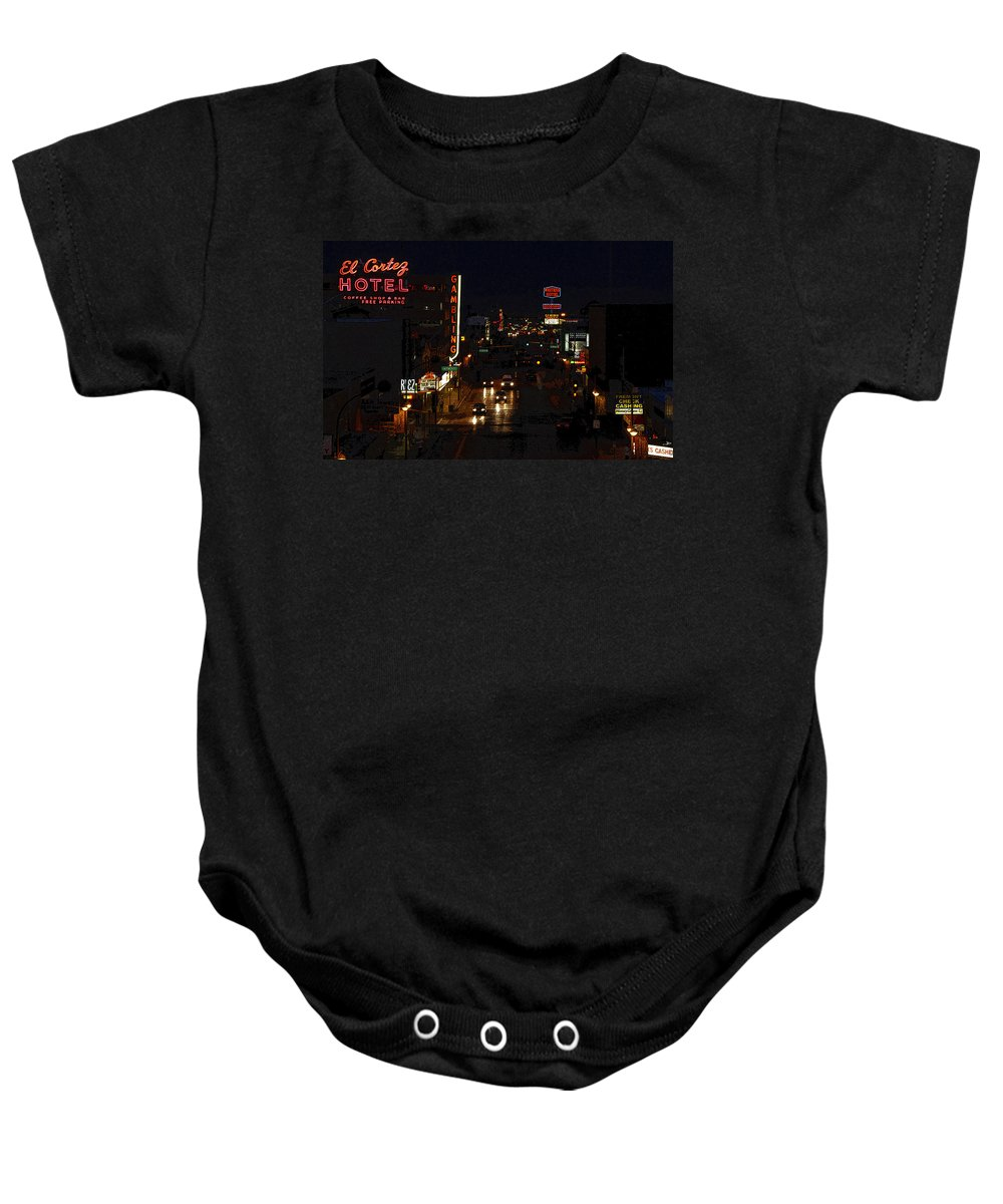 Art Baby Onesie featuring the painting Old Vegas by David Lee Thompson