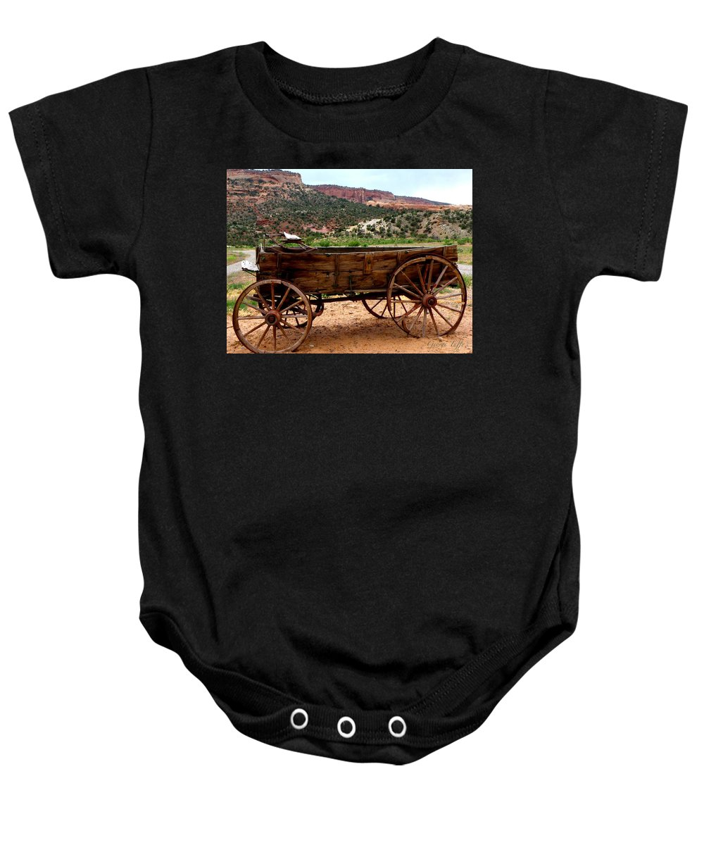 Old Wagon Baby Onesie featuring the photograph Old Wagon by George Tuffy