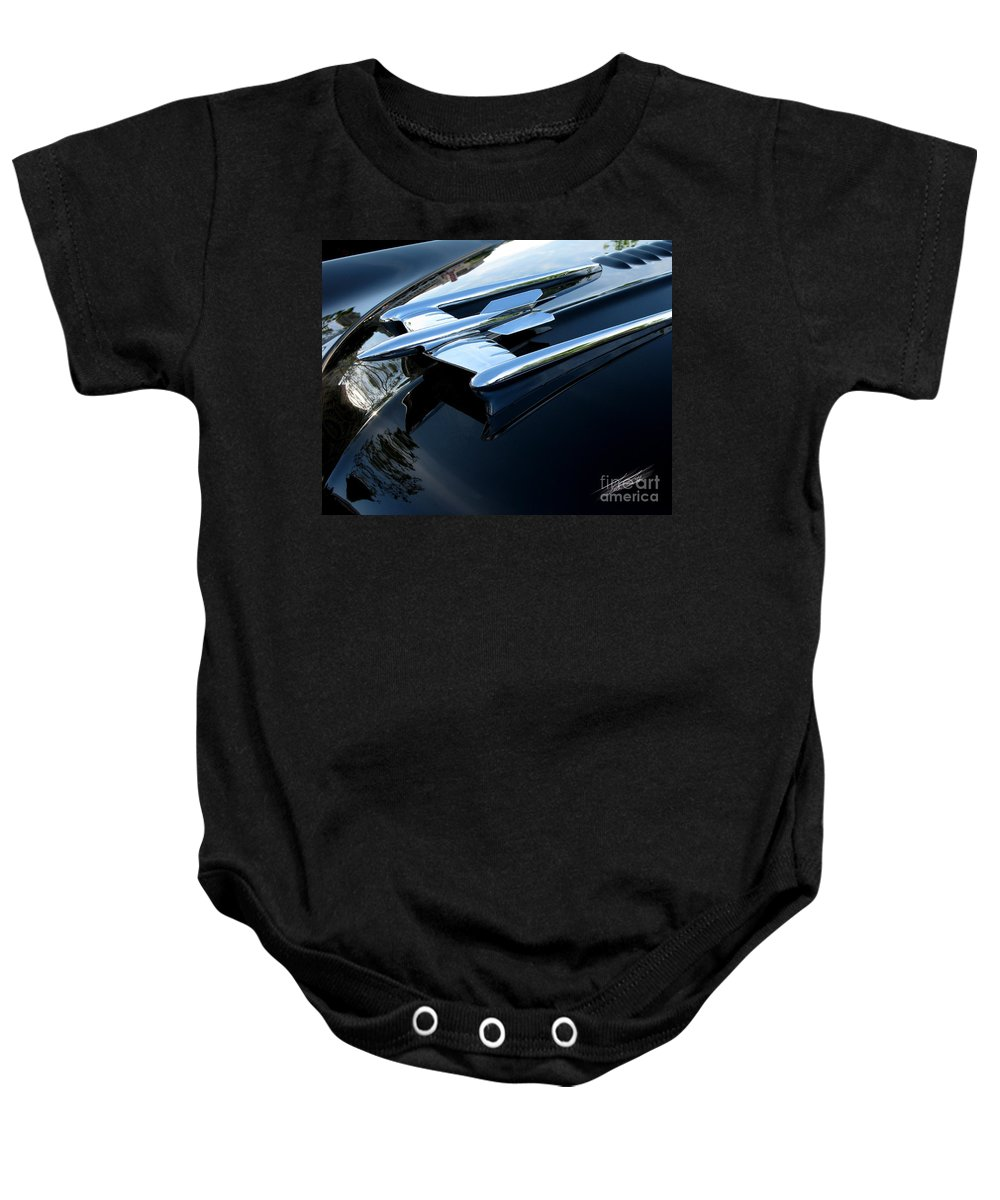 Oldsmobile 88 Baby Onesie featuring the photograph Old's 88 Hood Ornament by Peter Piatt