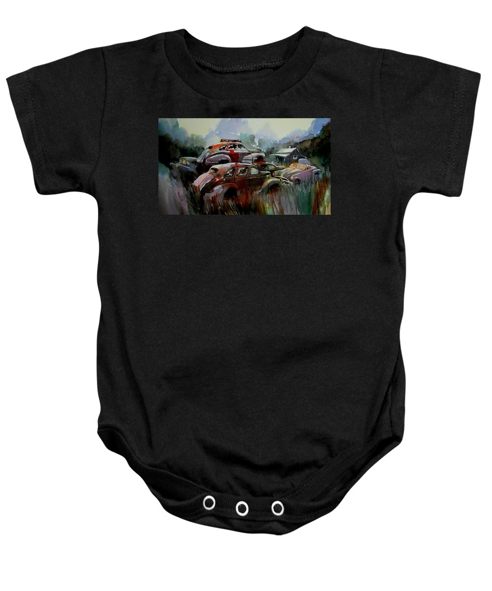 Chevies Baby Onesie featuring the painting Oliver Stacks by Ron Morrison