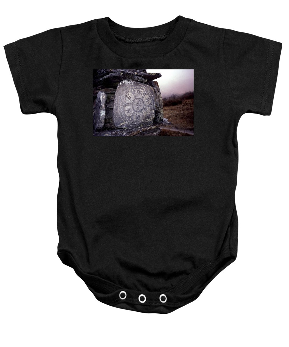 Langtang Baby Onesie featuring the photograph Om Mani Padme Hum by Patrick Klauss
