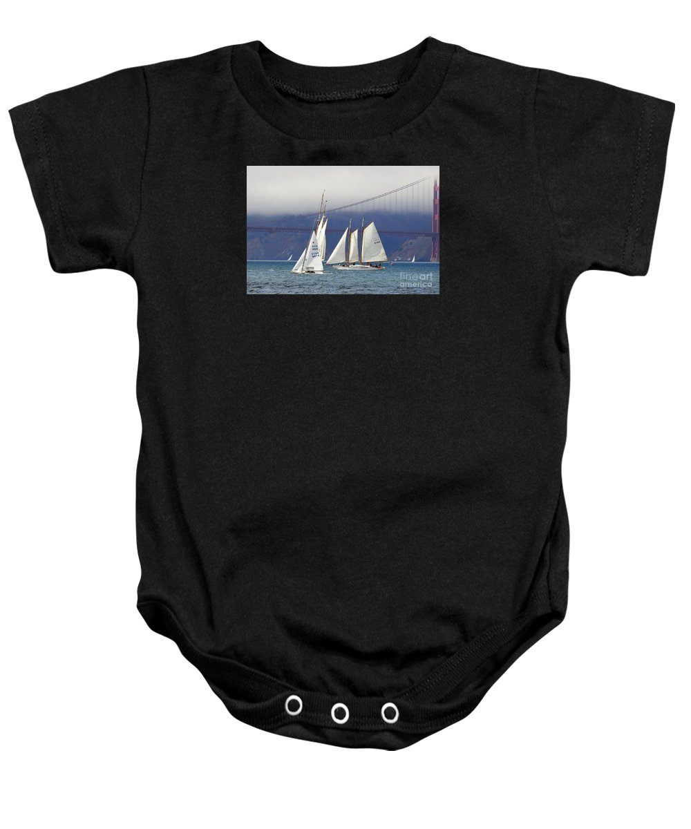 Yankee Schooner-schooners-gaff Rigged-sailboats Baby Onesie featuring the photograph On Frisco Bay by Scott Cameron