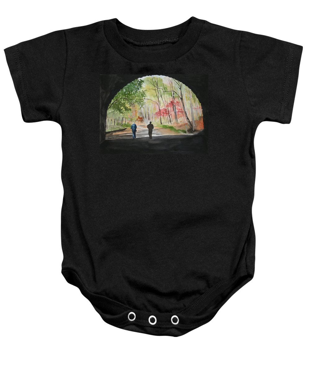 Road Baby Onesie featuring the painting On The Road To Nowhere by Jean Blackmer