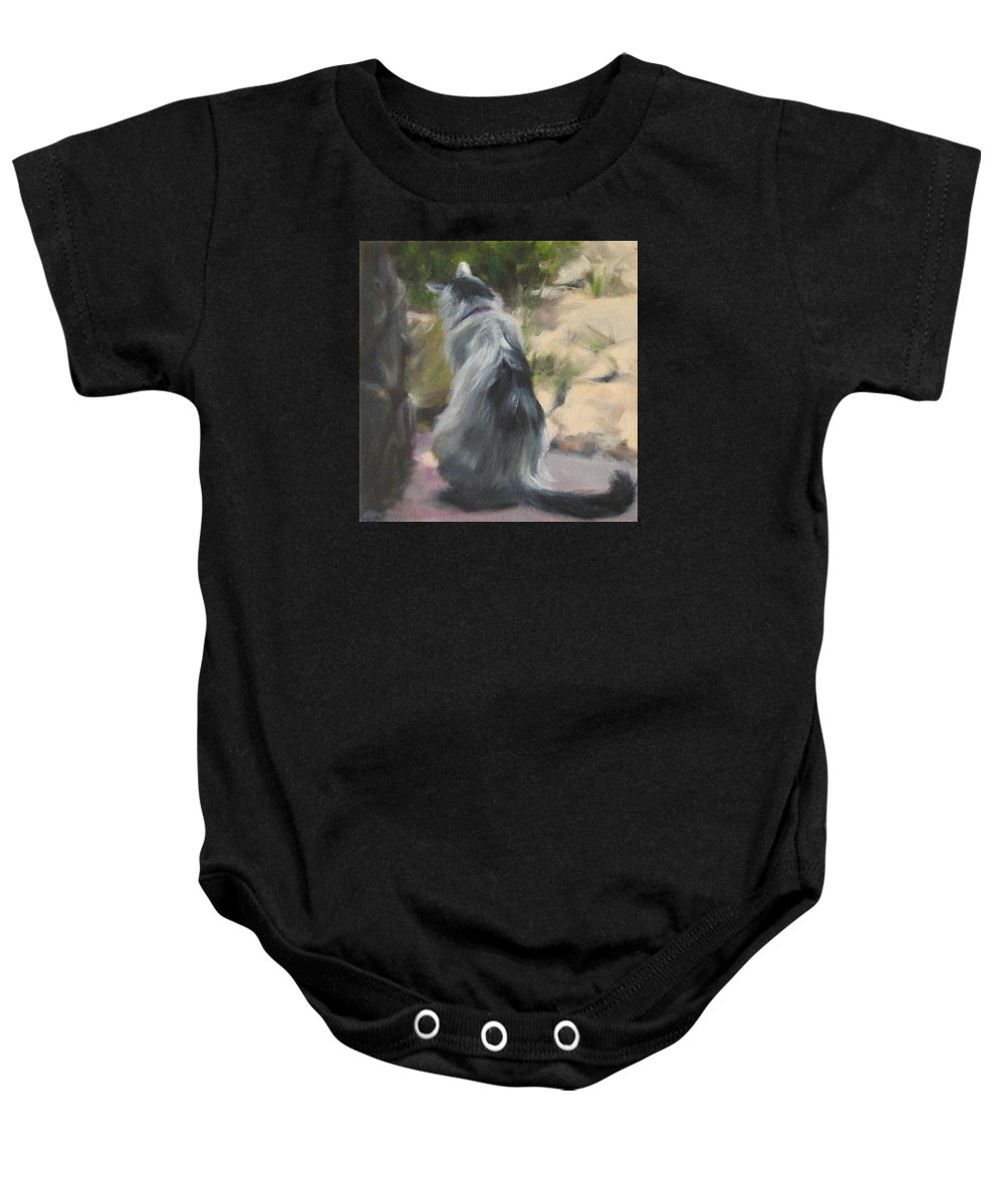 Cat Baby Onesie featuring the painting On The Threshold by Connie Schaertl