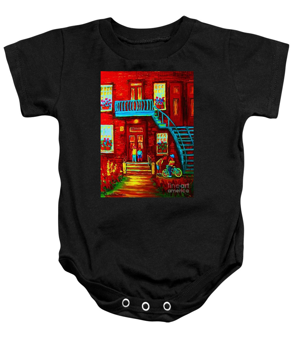 Bikes Baby Onesie featuring the painting One Bike For Two Brothers by Carole Spandau