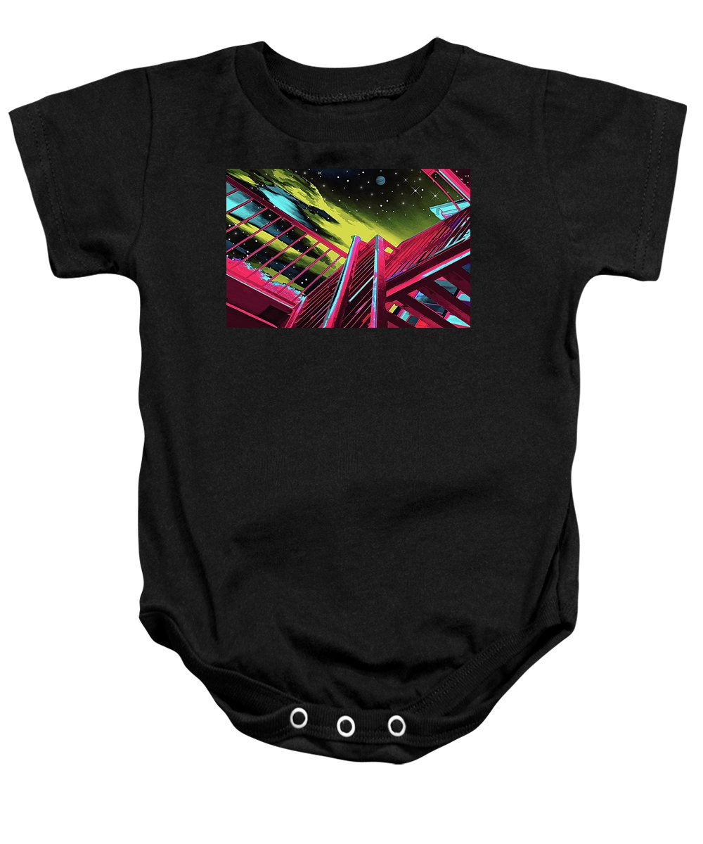 Wendy J. St. Christopher Baby Onesie featuring the digital art One Flight Up by Wendy J St Christopher