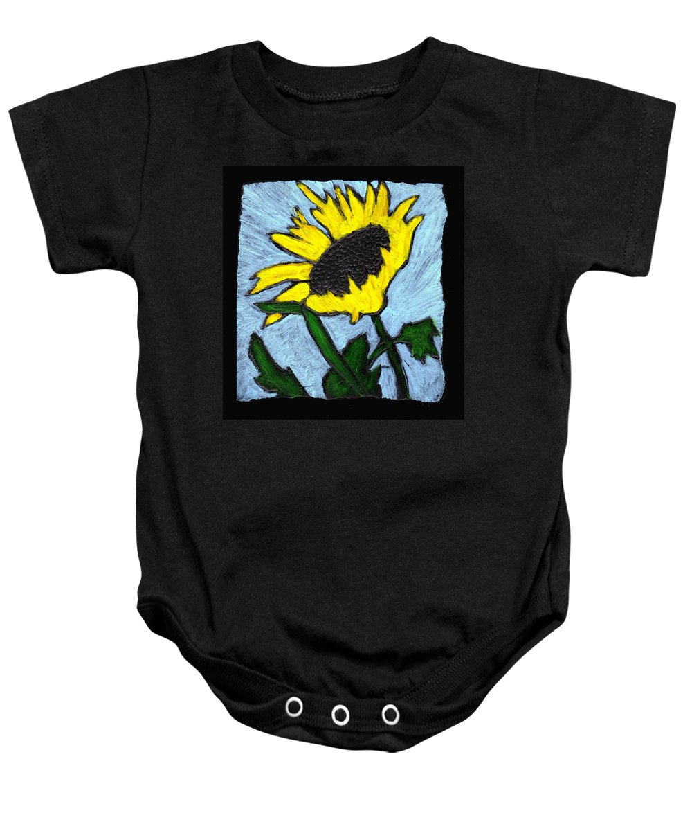 Flower Baby Onesie featuring the painting One Sunflower by Wayne Potrafka