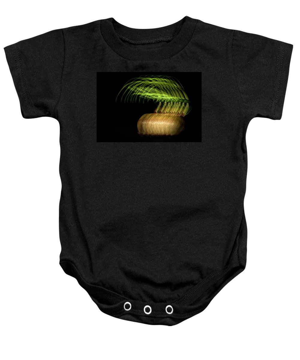 Onion Greens Baby Onesie featuring the photograph Onions by Onyonet Photo Studios