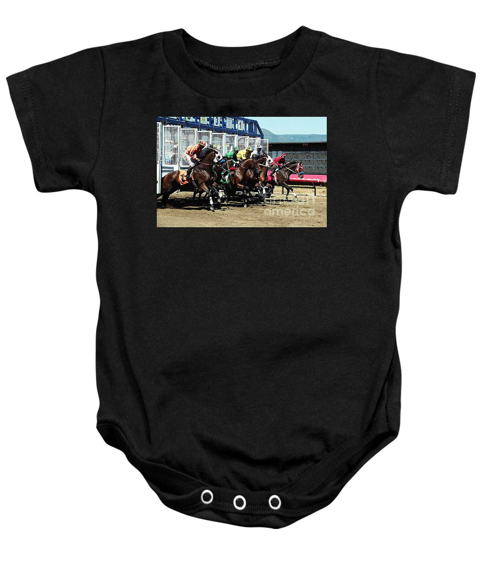 Horse Baby Onesie featuring the photograph Only A Mile To Go by Kathy McClure