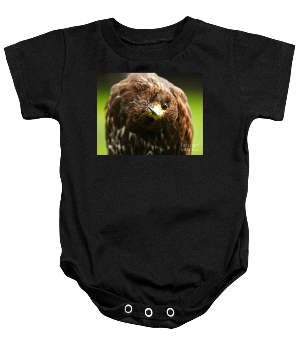 Buzzard Baby Onesie featuring the photograph Oops I Have Gone Mad by Angel Ciesniarska