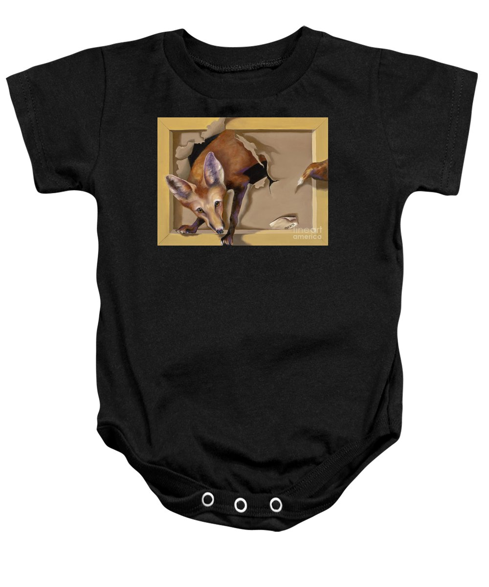Trompe Loeil Baby Onesie featuring the painting Oops I Was Looking For The Hen House by Susan A Becker