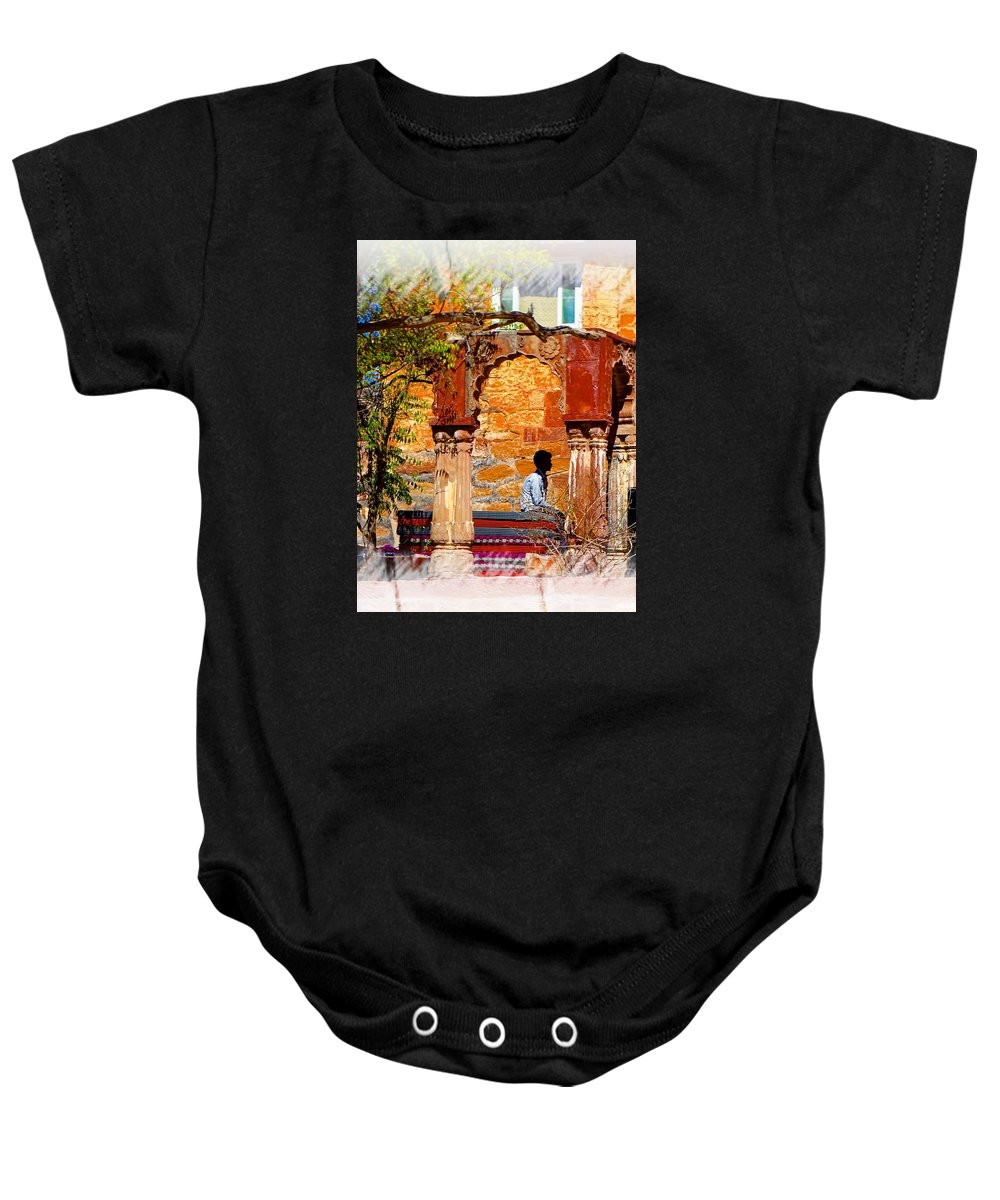 Travel Photography Baby Onesie featuring the photograph Open Air Bed Among The Arches India Rajasthan 1a by Sue Jacobi