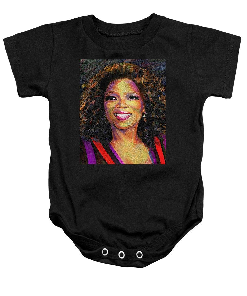 Oprah Baby Onesie featuring the painting Oprah by James Mingo