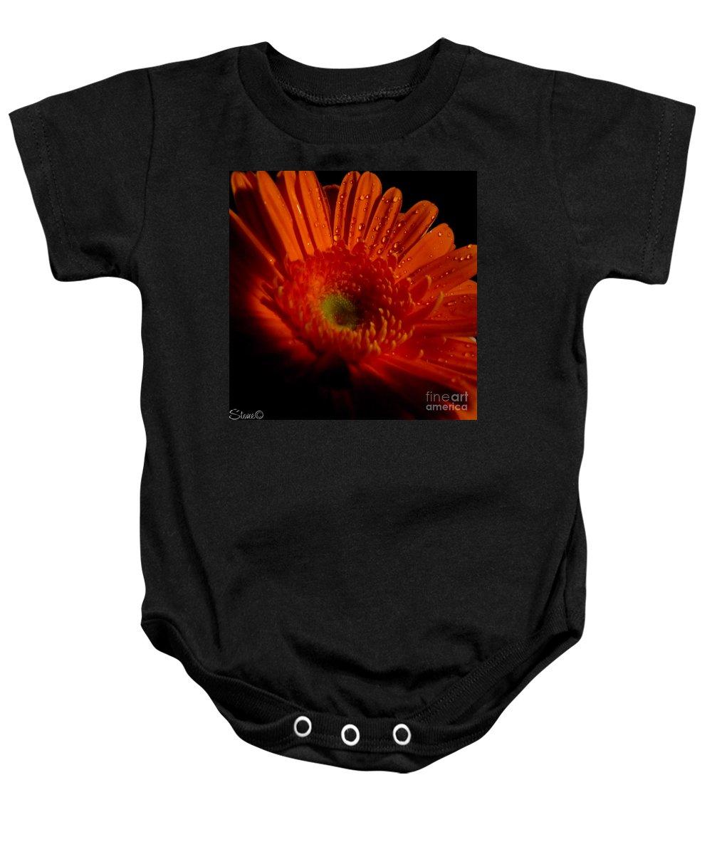 Macro Baby Onesie featuring the photograph Orange Gerbera by September Stone