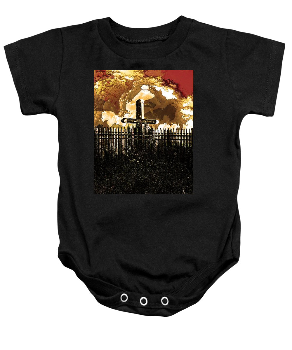 Photo Baby Onesie featuring the photograph Orange Sky Cross by John Vincent Palozzi