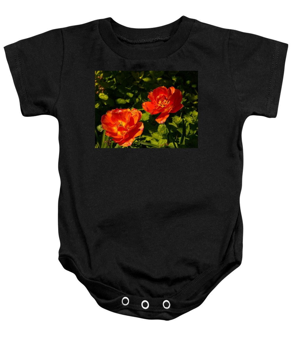 'orange Tulips' Baby Onesie featuring the photograph Orange Tulips In My Garden by Helmut Rottler