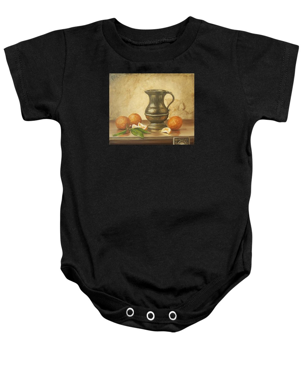 Still Life Baby Onesie featuring the painting Oranges by Natalia Tejera