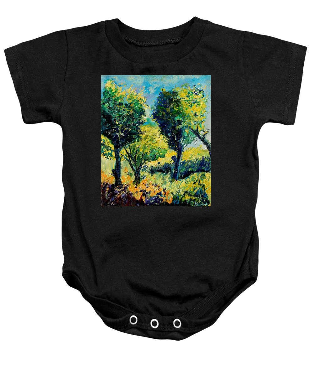 Tree Baby Onesie featuring the painting Orchard 562 by Pol Ledent
