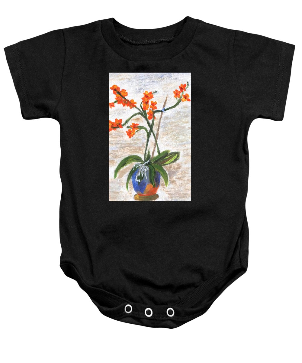 Petal Baby Onesie featuring the painting Orchid by Jamie Frier