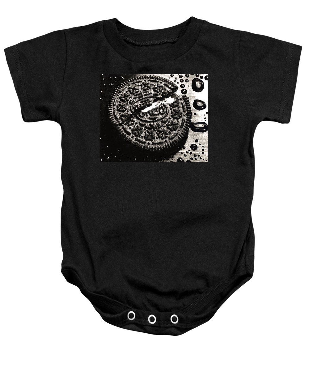 Cookie Baby Onesie featuring the photograph Oreo Cookie by Nancy Mueller