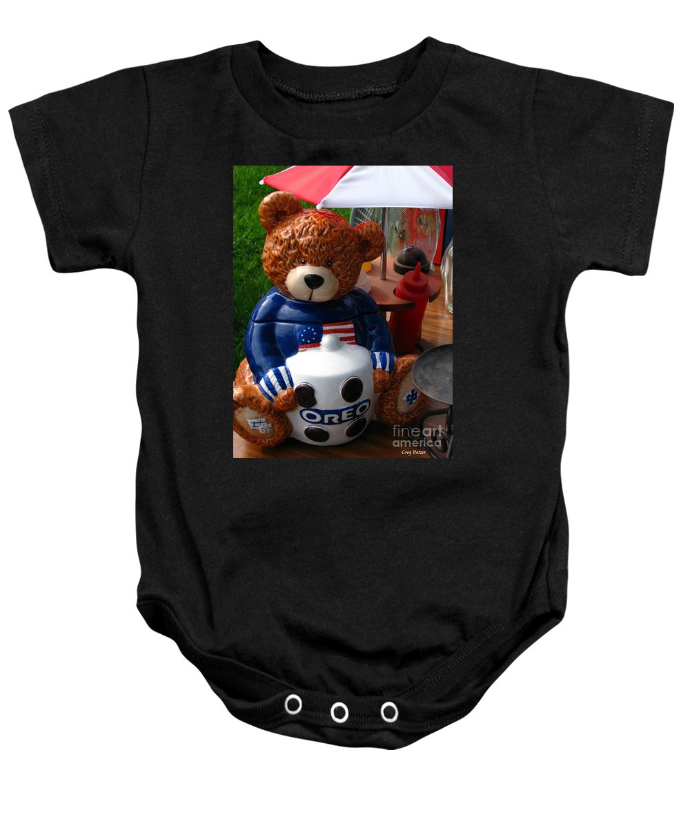 Patzer Baby Onesie featuring the photograph Oreo by Greg Patzer