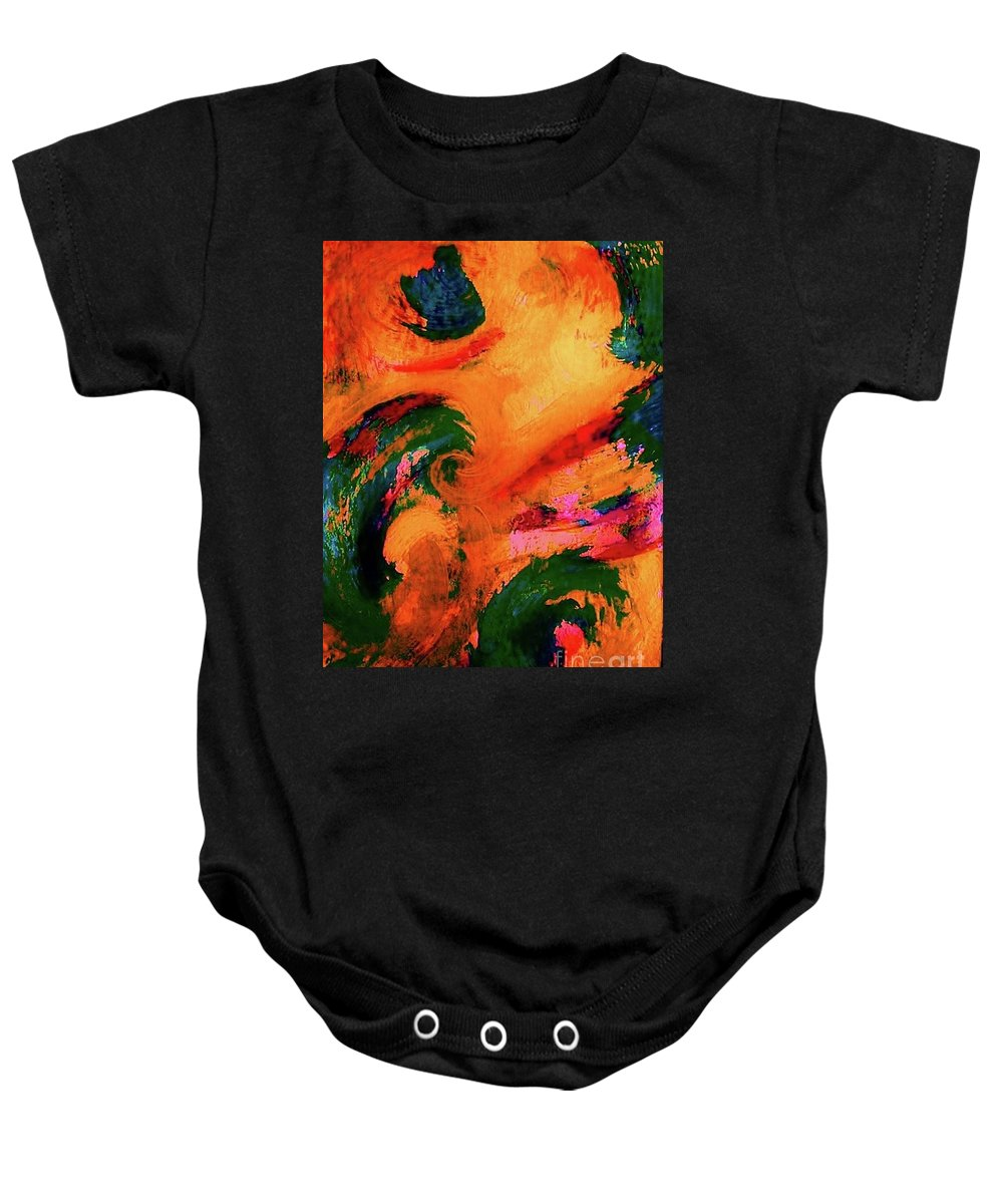 Abstract Baby Onesie featuring the painting Organic Clash by Diana Dearen