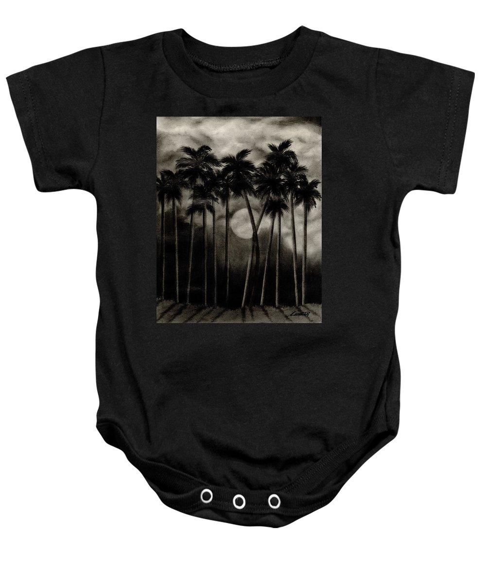 Original Moonlit Palm Trees Baby Onesie featuring the drawing Original Moonlit Palm Trees by Larry Lehman